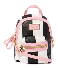 c951a8acc4 Betsey Johnson Pink   White Stripe Convertible Crossbody Bag Backpack. Pink  WhiteBackpack BagsBetsey ...