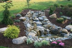 small pond with waterfall