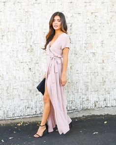 Solid Bardot Wrap Dress - Mauve