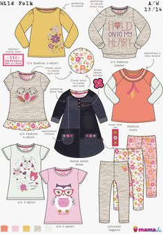 Emily Kiddy: Girlswear Range Boards and Trends Kids Girls, Baby Kids, Baby Posters, Flat Sketches, Technical Drawing, Kids Prints, Kid Styles, Little Girl Dresses, Baby Wearing