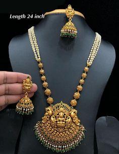 Temple Necklace with Chandbaali Pendant - Sundaramoorthy Chinnusamy - internationally inspired Pearl Necklace Designs, Gold Earrings Designs, Gold Jewellery Design, Pendant Jewelry, Beaded Jewelry, Gold Jewelry, Pearl Jewelry, Gold Pendant, Antique Jewelry