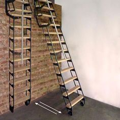 Stair Ladder, Roof Ladder, Loft Ladders With Handrail, Tiny House Stairs, Loft Stairs, Attic Renovation, Attic Remodel, Folding Attic Stairs, Folding Ladder