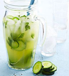Pepinos 1 large cucumber, peeled and cut into 1/2-inch-thick slices, 2/3c agave nectar or simple syrup*, 1/2c fresh basil and/or cilantro, 3 fresh jalapeno chile peppers, stemmed and seeded**, 1 750mL blanco or reposado tequila, 1 1/4c lime juice, 1 1/4c pineapple juice, Ice Fresh basil leaves and/or thin cucumber slices (optional)