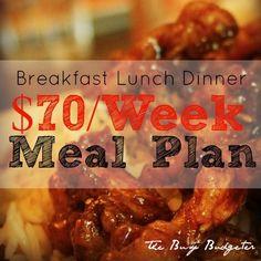$70/Week Meal Plan