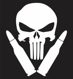 Punisher Skull Bullet Vinyl Decal Sticker AK47 AR15 Hunting Shotgun Motorcycle