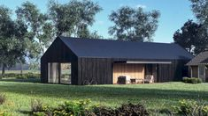 Shed Design, Home Design, Barn House Conversion, Black House Exterior, Weekend House, Shed Homes, Cool Apartments, Industrial Farmhouse, House Extensions