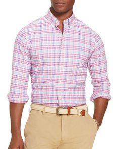 Polo Ralph Lauren Checked Oxford Classic Fit Button-Down Shirt - Ocean/Yellow Multi Ralph Lauren Brands, Polo Ralph Lauren, Pink Plaid Shirt, Beard Lover, Check Shirt, Casual Button Down Shirts, Oxford, Men Casual, Mens Tops