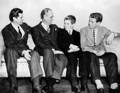 Joseph P. Kennedy, Sr., (second from left) with his sons (from left) Joseph P. Kennedy, Jr., Robert F. Kennedy, and John F. Kennedy in 1938....