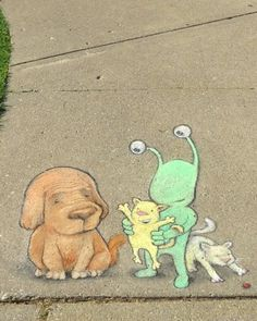 David Zinn - With Sluggo at Ann Arbor Summer Festival: Top of the Park. June 2014 (Detail)