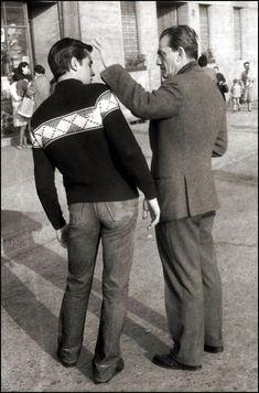 Alain Delon on the set of Rocco e i suoi fratelli; with Luchino Visconti.