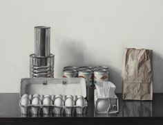 Claudio Bravo - Return From The Supermarket, 1971 x cm) oil on canvas. Claudio Bravo, Still Life Drawing, Arts Ed, Art Database, Red Hats, Soap Dispenser, Oil On Canvas, Art Photography, Candle Holders