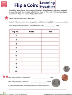 Second Grade Probability Worksheets: Flip a Coin: Learning Probability Math Classroom, Kindergarten Math, Teaching Math, Future Classroom, Classroom Ideas, Math Resources, Math Activities, Math Games, Probability Worksheets