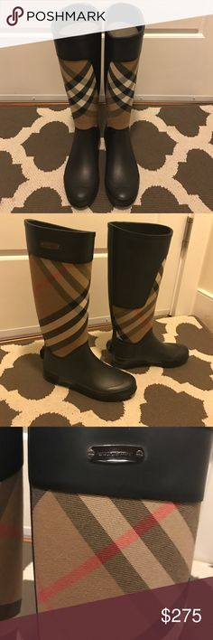 Burberry 'Clemence' Rain Boots Burberry rain boots in very good condition. Only worn several times. Natural latex rubber releases a protective wax film; simply wipe it off with warm water. Overtime you may see the a greyish/white discoloration. A pristine finish and shine is easily restored with regular use a buffer or shine (I use the one by Hunter). I've used the spray on this pair once. This is normal for rain boots, such as Burberry and Hunter. Please ask me any questions you have if…