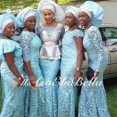 BellaNaija Weddings presents #AsoEbiBella – Vol. 65! Light blue Nigerian dresses and gele weddings bride inspiration