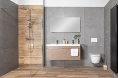 Modern bathroom with ceramic parquet (tiles in wood look), large anthracite-colored . Washroom Design, Bathroom Design Luxury, Bathroom Layout, Modern Bathroom Design, Bathroom Colors, Small Bathroom, Contemporary Bathroom Designs, Bathroom Design Inspiration, Amazing Bathrooms