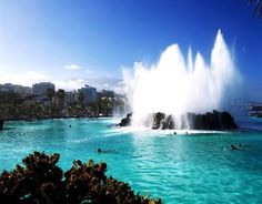 Lago Martianez - waterpark with sea water, palms, volcanic rock in Tenerife Canaries Tenerife, Places To Travel, Places To See, Spain Holidays, Beach Town, Canary Islands, Spain Travel, Places Around The World, Vacation Spots