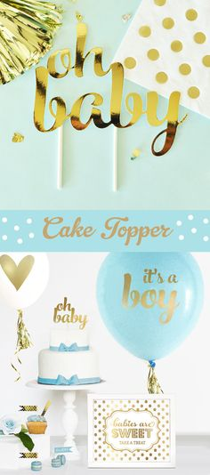 Boy Baby Shower Cake Topper Boy  Blue and Gold Baby by ModParty