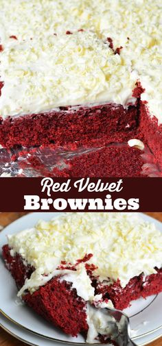 Beautiful, chewy red velvet brownies topped with white choc… Red Velvet Brownies. Beautiful, chewy red velvet brownies topped with white chocolate cream cheese frosting and white chocolate shavings. Brownie Toppings, Brownie Desserts, Great Desserts, Köstliche Desserts, Best Dessert Recipes, Holiday Desserts, Brownie Recipes, Sweet Recipes, Delicious Desserts