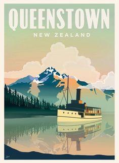 Queenstown, New Zealand #vintagetravelposters
