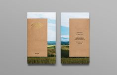 Pamphlet with gold foil, photographic landscape and unbleached material detail designed by Anagrama for olive oil brand Valentto.