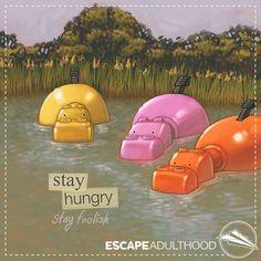 """Stay Hungry. Stay Foolish."" ~Steve Jobs. Art by Jason Kotecki."