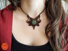 Macrame necklace with Lava stone Macrame leaves Macrame