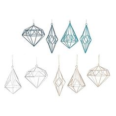 Martha Stewart Living? Open Metalwork Geo Shape Ornaments - Set of 9 (83 CAD) ❤ liked on Polyvore featuring home, home decor, holiday decorations, wire ornaments, wire christmas ornaments, geometric home decor and home decorators collection