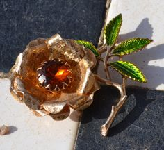 Ember Flower Brooch by Sarah Coventry.  Stunning statement piece.