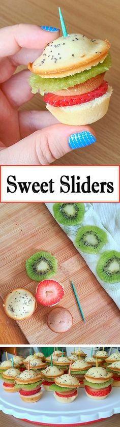These sweet bite-sized desserts are deliciously deceptive. Appearing at first glance to resemble miniature hamburger sliders, they are actually made of cake and fruits!
