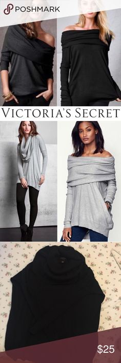 Victoria's Secret Off Shoulder Multiway Sweater Worn once and like new. Very comfy. Size XS but will fit sizes up in my opinion. Color is black. It has pockets. It is 65% cotton, 32% viscose, 3% cashmere. Lower on M. Victoria's Secret Tops Tunics