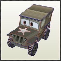 Disney Pixar: Cars - Sarge Free Papercraft Download - http://www.papercraftsquare.com/disney-pixar-cars-sarge-free-papercraft-download.html