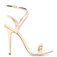 Giuseppe Zanotti Design Ellie sandals ($795) ❤ liked on Polyvore featuring shoes, sandals, metallic, open toe sandals, ankle strap sandals, leather shoes, metallic strappy sandals and ankle strap shoes