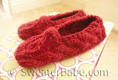 Ravelry: #143 One-Skein Sweetheart Slippers pattern by SweaterBabe