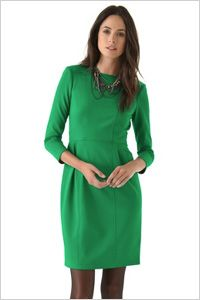 "Nanette Lepore sheath dress--this dress was paired with black ankle boots.  I actually like this dress and could see myself wearing it.  ""Pair this simple but chic green jersey Nanette Lepore sheath dress ($328) with some black suede round toe ankle booties with a slim stiletto heel ($129) for a streamlined seasonal look. The delicate ankle boots work well to balance out the heavier nature of the sheath dress. Add a pair of opaque black tights for a classic, office-friendly look."""
