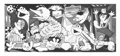 Art parody with Sesame Street characters. In the image: Guernica by Pablo Picasso