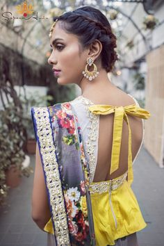 floral print dupatta , blouse back style , bow tie back , yellow open back blouse