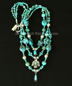 Mixed Turquoise Necklace with Vintage Turquoise & Sterling Silver Charms, Hill Tribe Silver Rondelles, and Sterling Silver Vintage Turquoise, Turquoise Jewelry, Silver Charms, Sterling Silver Necklaces, Silver Earrings, Earrings Uk, Silver Bracelets, Minerals And Gemstones, Sea Glass Jewelry