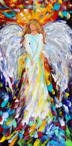 Angel print, angel art, Angel of Hope, Giclee Print on canvas made from image of Original painting by Karen Tarlton fine art divino. Canvas Art, Canvas Prints, Hand Prints, Canvas Ideas, Modern Impressionism, Angels Among Us, Angel Art, Oeuvre D'art, Painting Inspiration