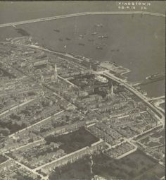 Probably one of the earliest aerial photos of Dun Laoghaire or Kingstown as it was then., which had only been formed on April Dublin Street, Dublin City, Ireland 1916, Dublin Ireland, Michael Church, St Michael, Old Pictures, Old Photos, Vintage Photos