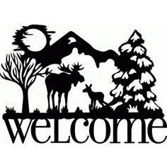 Silhouette Design Store - View Design welcome winter moose Silhouette Design, Silhouette Cameo Projects, Moose Silhouette, Silhouette Painting, Animal Silhouette, Silhouette Studio, Vinyl Cutting, Paper Cutting, Voyage Canada