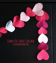 Simple Felt Heart Garland   littleredwindow.com   Great Tutorial for an easy but adorable Felt Heart Garland for Valentine's Day!