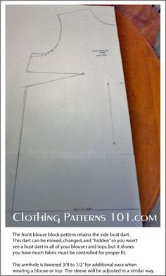 front blouse pattern with dart