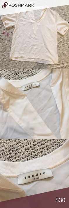 Sandro white silk V-neck Top Sandro white/creme silk top. Vneck. Size 1. Small. Minor wear check last two pics. Once worn barely noticeable. Never worn/sample. Condition reflects price. Sandro Tops Blouses