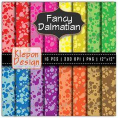 16 Fancy Dalmatian Spots Digital Paper Pack in Bright Colors by Klepon Design