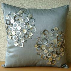 fiber art cushion, buttons
