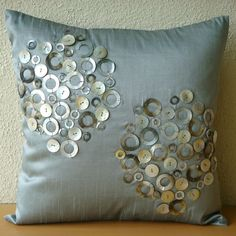Decorative Throw Pillow Covers Accent Couch Sofa 20x20 Inches Gray Silver Silk Pillow Embroidered Mother Of Pearl Atmosphere Home Decor on Etsy, $51.00 CAD