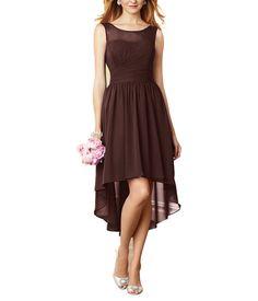 DescriptionAlfred Angelo Style 7298SCocktaillength bridesmaid dressHigh illusionneckline over sweetheart bodiceNatural waist, shirred a-line skirtHi-low styleChiffon