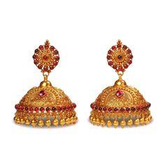 Gold Jhumka Earrings, Gold Earrings Designs, Gold Diamond Earrings, Jhumka Designs, Kerala Jewellery, Indian Jewellery Design, Jewelry Design, Gold Jewellery, Indian Wedding Jewelry