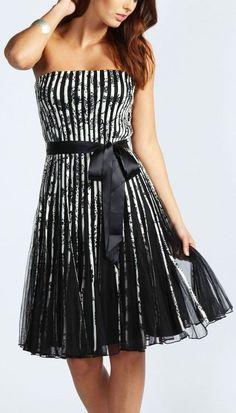 Bandeau Stripe Tulle Dress ♥