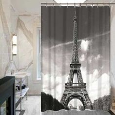 1 Pc Waterproof Paris-Tower-and-Lovers Shower Curtain for Home /& Bathroom